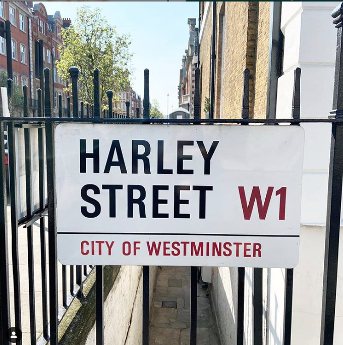 street sign of harley street W1 city of westminster in London