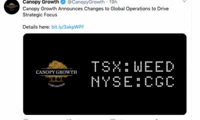 A screenshot of a tweet from Canopy Growth