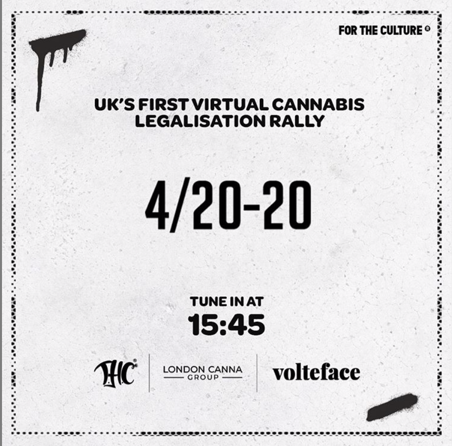 A poster by London Canna Group to mark the UK's 2020 celebration of 4/20 online.
