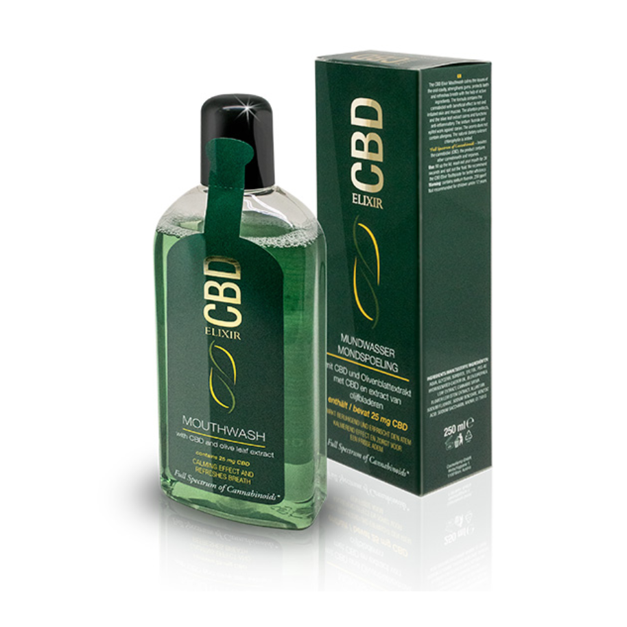 CBD mouthwash in a bottle and a box