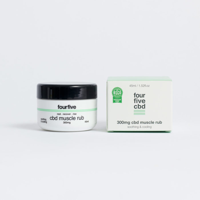 CBD muscle rub in a tub, by four five CBD