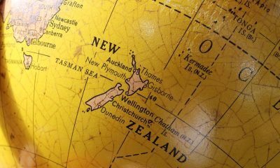 New Zealand on the globe