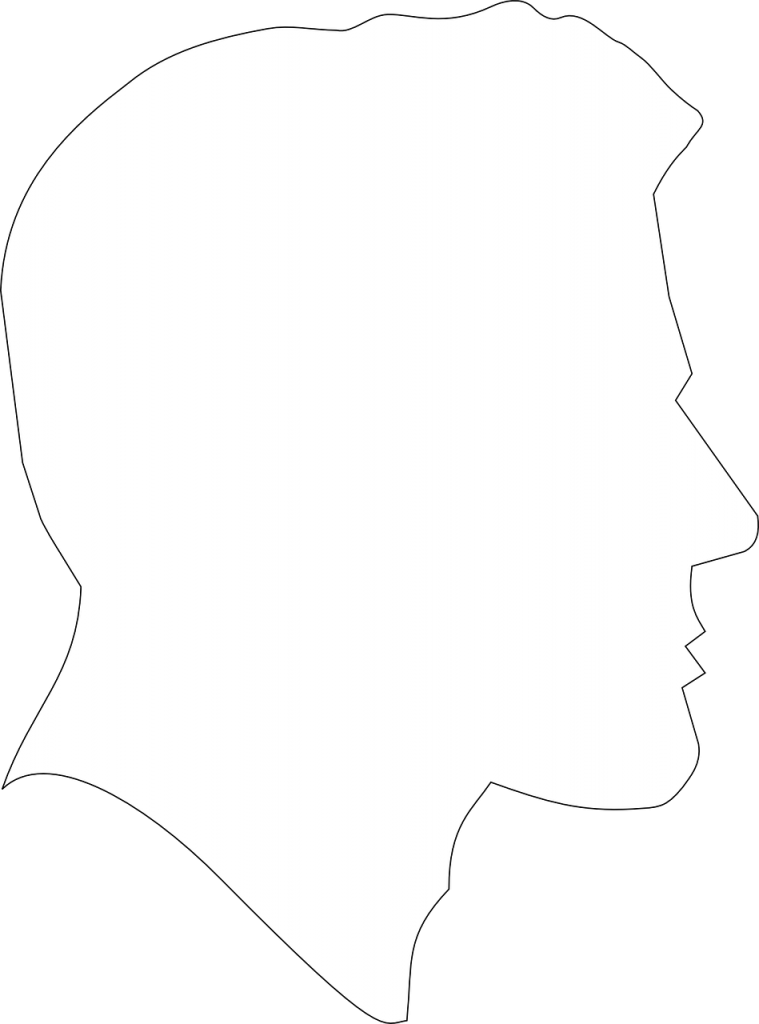 thin black outline of a male face
