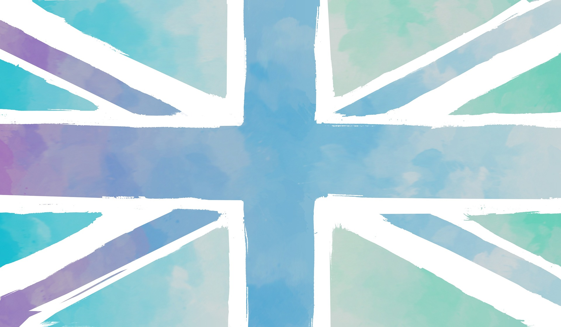 The British flag, the Union Jack, depicted in water colour