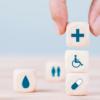 Dice with health symbols