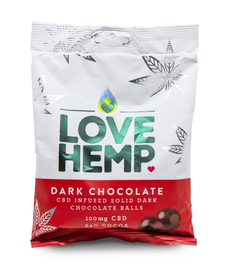 A packet of Love Hemp CBD dark chocolate