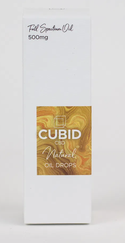 A box of Cubid CBD natural oil drops on a white background