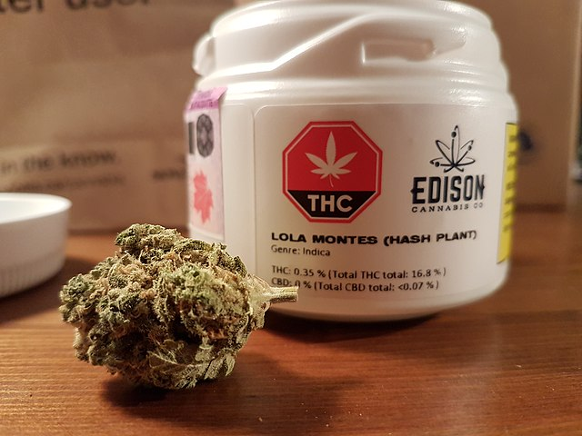 A container of legal cannabis