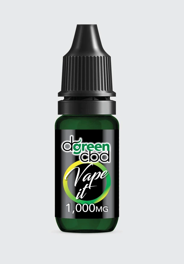 A bottle of Dr Green CBD vape e-liquid
