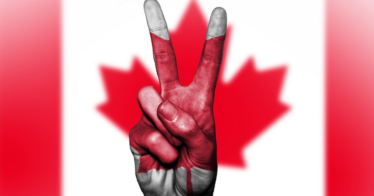 Canadian flag with peace sign