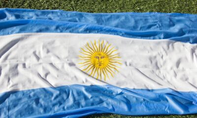 Argentina flag on grass