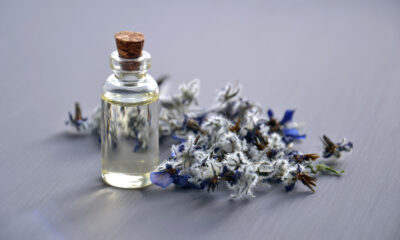 A bottle of tincture near some lavender flowers