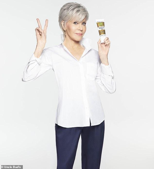 Jane Fonda advertising Uncle Bud's hemp products