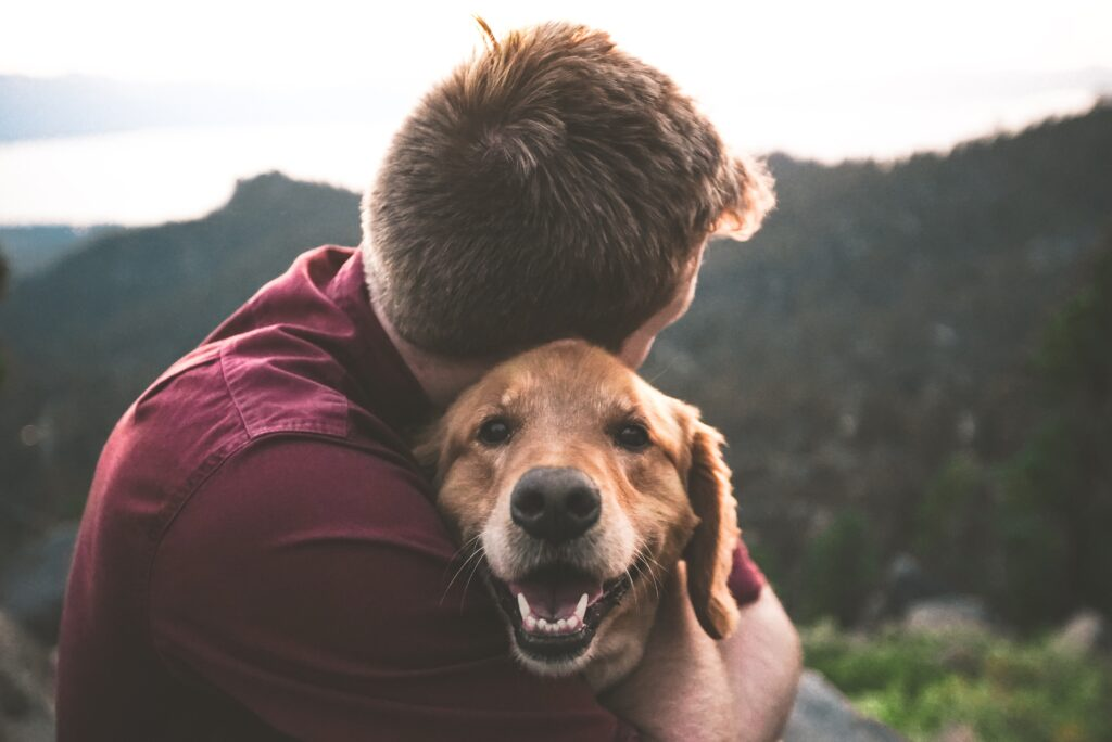 Men hugging a golden retriever dog who is smiling on a mountain