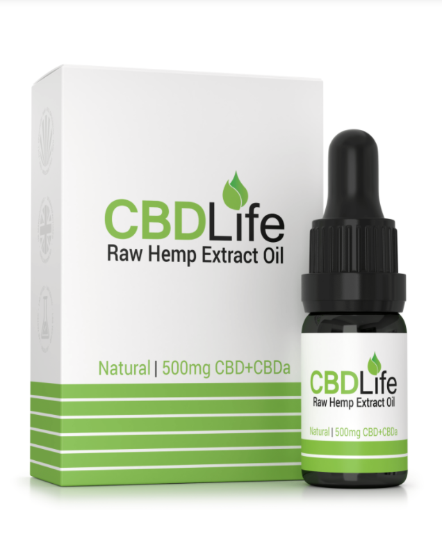 A bottle of CBD Life oil next to a box