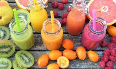 Three fruit smoothies