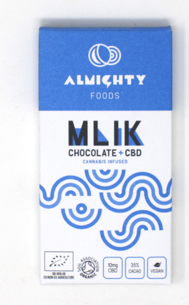A bar of milk chocolate in a blue and white paper packaging. MILK is written on the front in black lettering