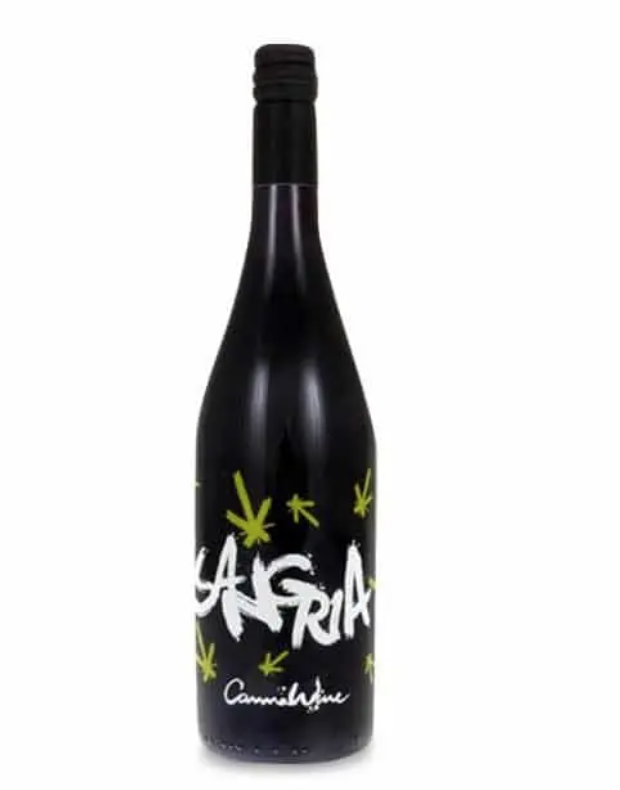 A black bottle of sangria from cannawine with sangria written in white across the bottle and green leaves