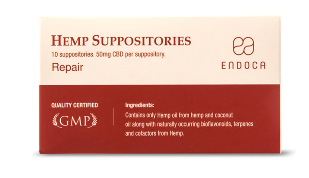 A red and white box of CBD suppositories from Endoca