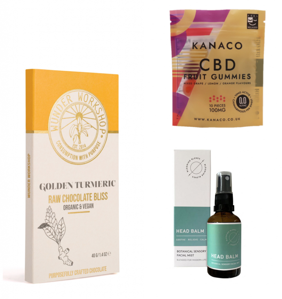 3 CBD-infused products for sale on a white background.