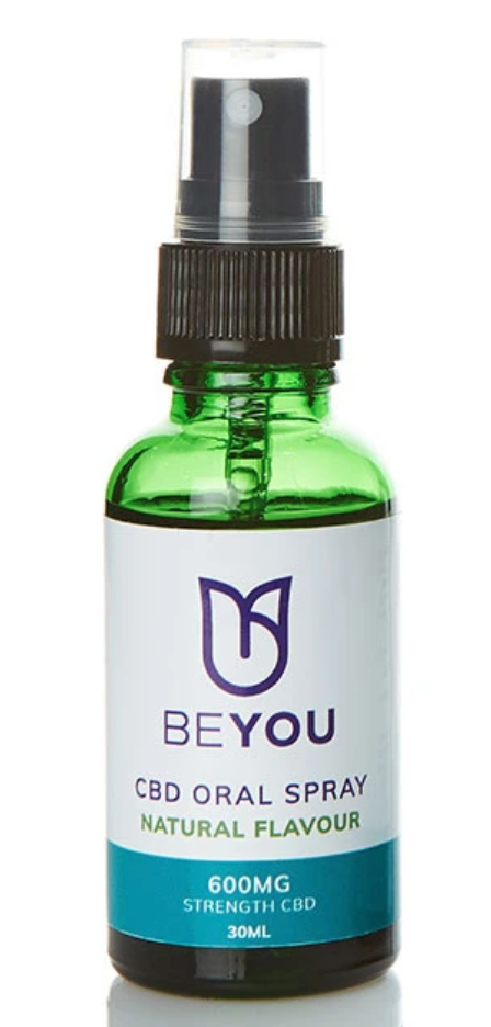 A green srpay bottle of CBD oil from Beyou CBD. It has a white label with a blue bottom on it.