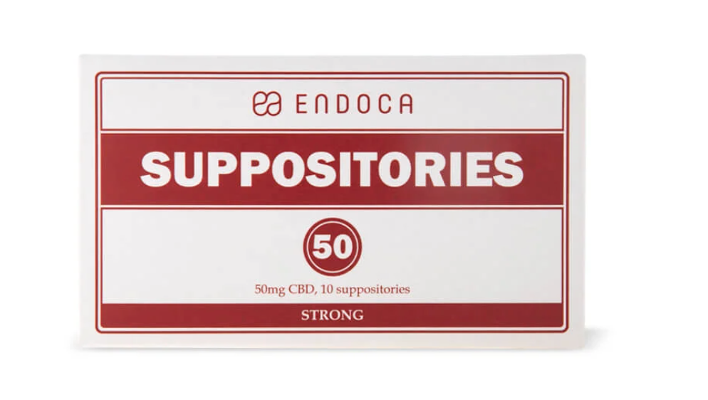 A red and white box of CBD suppositiories