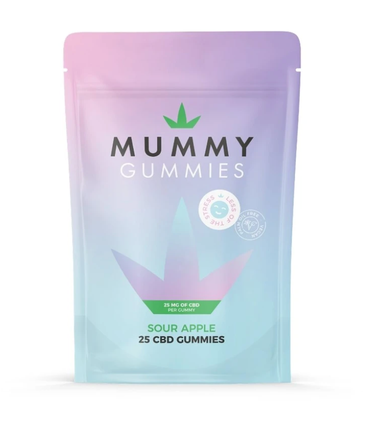 A blue and pink packet of CBD gummies in apple flavour.