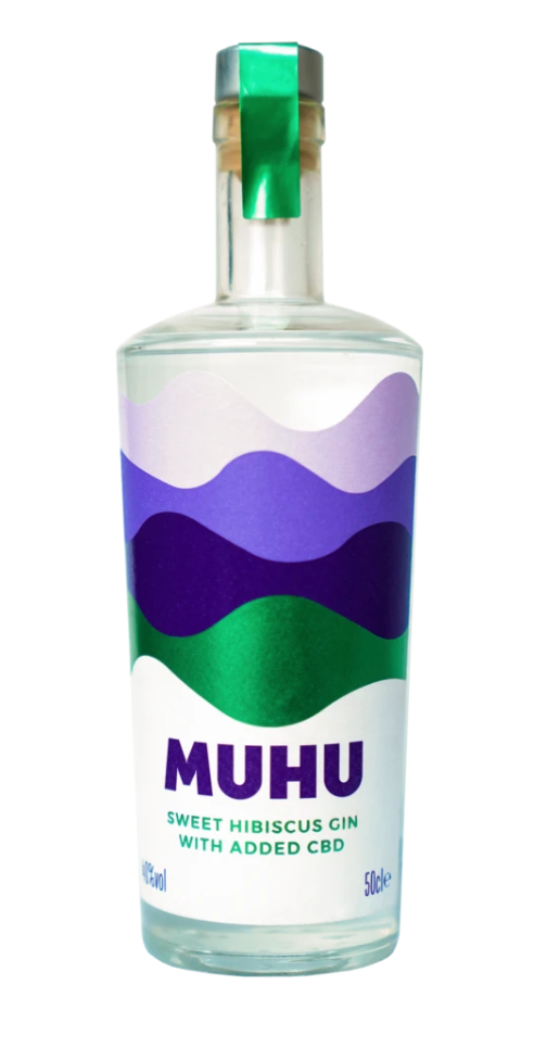 A bottle of CBD gin from MUHU with a purple and green label